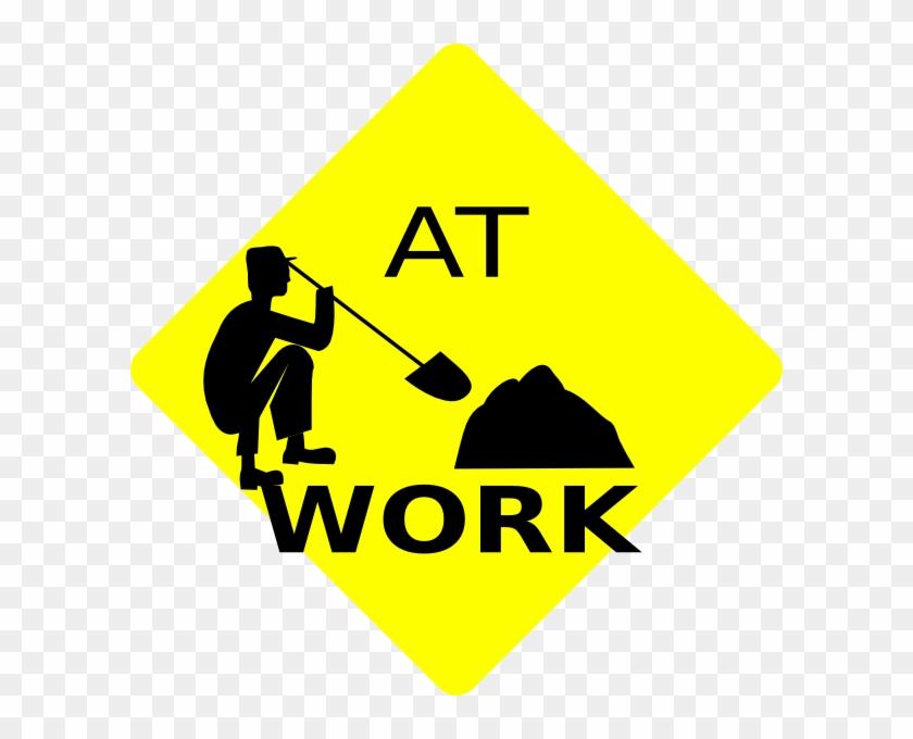 Men At Work Black & Yellow Sign Clip Art At Clker - Yellow And Black Men At Work Sign #133762
