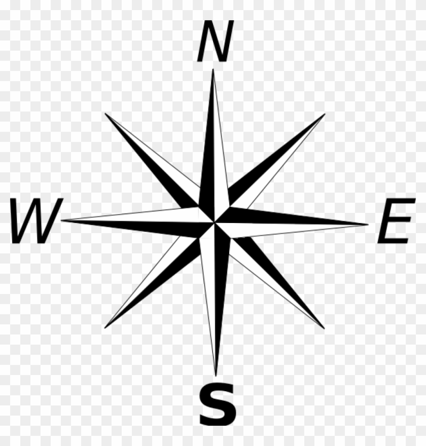 Simple Compass Rose Clip Art - Cardinal And Intermediate Directions #134304