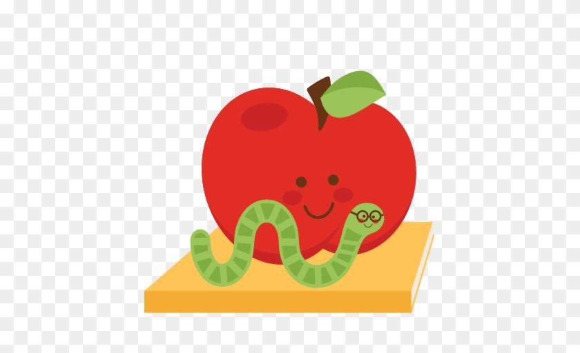 Apple With Bookworm Svg Scrapbook Cut File Cute Clipart - Mcintosh #134600