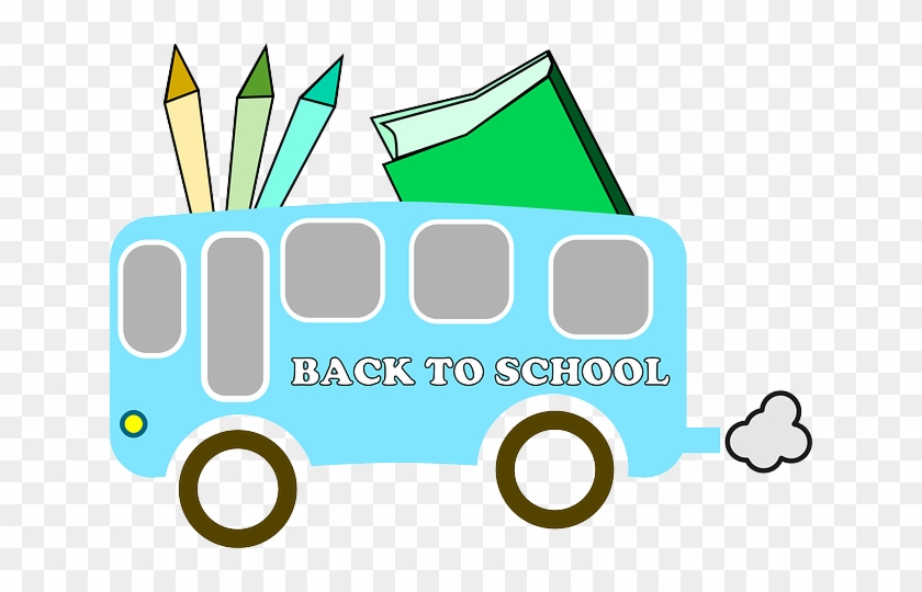 Back, Education, Bus, Free, Book, Colors - Back To School Vector Free Png #134616