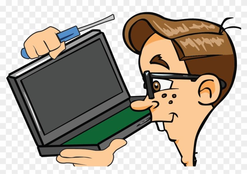 Laptop Clipart Pc Repair - Cartoon Computer Repair #134778
