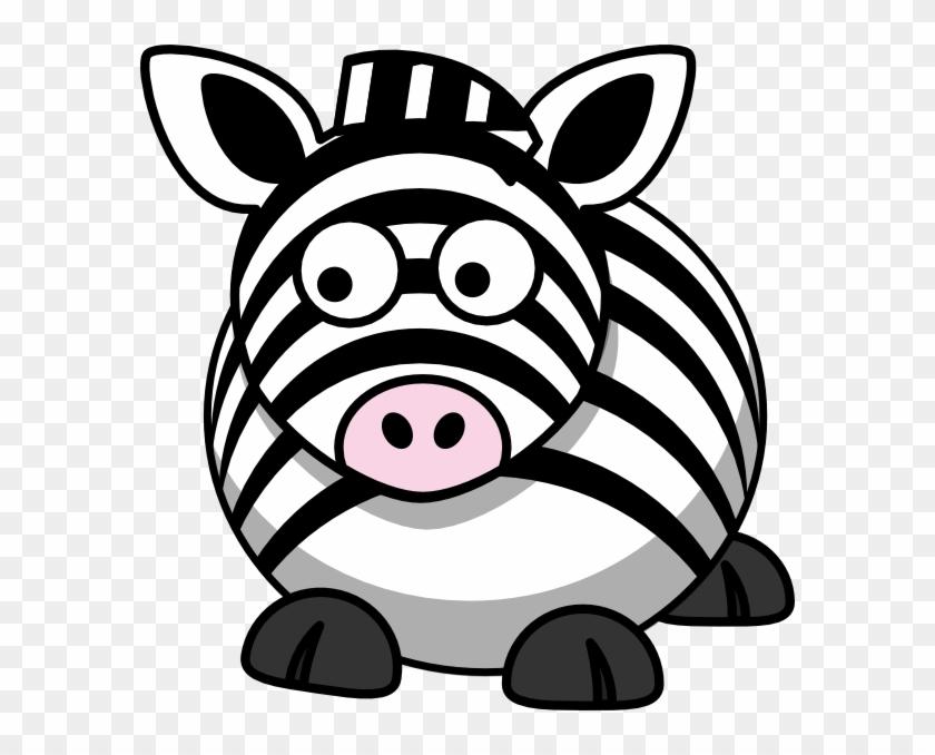 Zebra Left Clip Art - Fat Cartoon Animals #135088