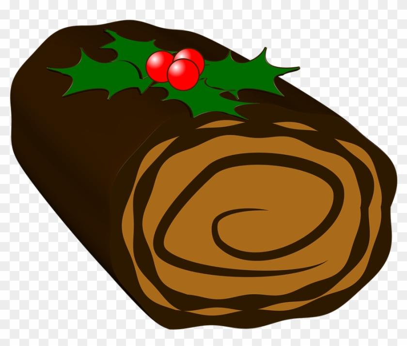 Yule Log Cake Christmas Yule Log Chocolate - Buche De Noel Clipart #135267