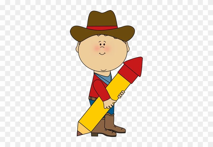 Cowboy With A Pencil - School Cowboy Clipart #135591