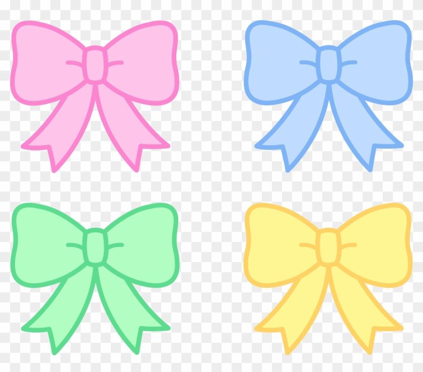 Cute Pastel Holiday Bows - Cute Ribbon Clip Art #135797