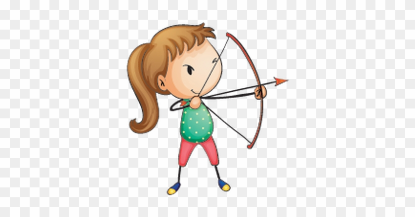 Kids Engaging In Different Sports - Cartoon Image Archery #136015
