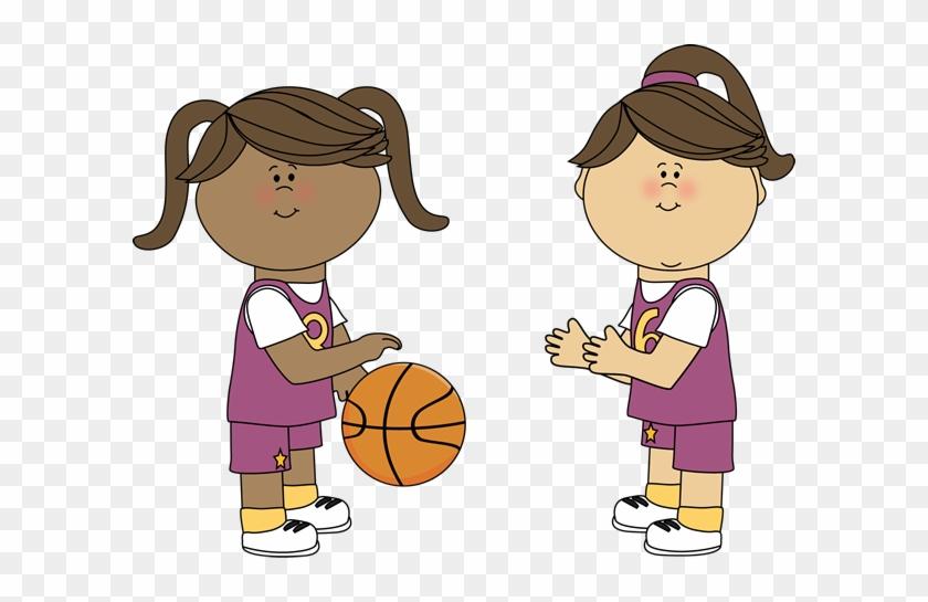 Girl Basketball Player Clipart - Girl Playing Basketball Clipart #136069
