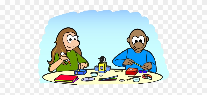 Cartoon Of Two Kids Building A Model Of A Satellite - Make Cartoon #136176