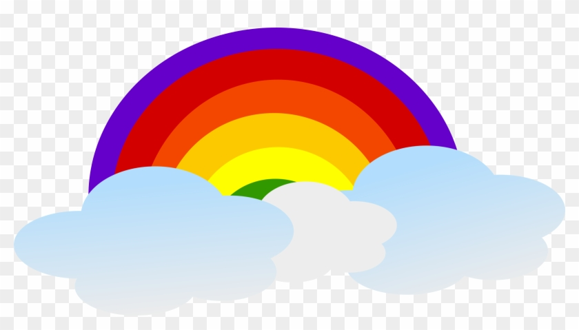 2400 X 1255 Png 104kb - Clouds With Rainbow Clipart #136289