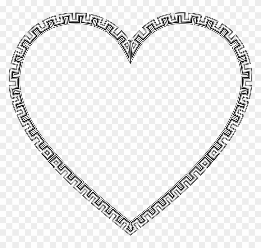 Border Frame Decorative Ornamental Abstract - Decorative Heart Line Drawing #136447