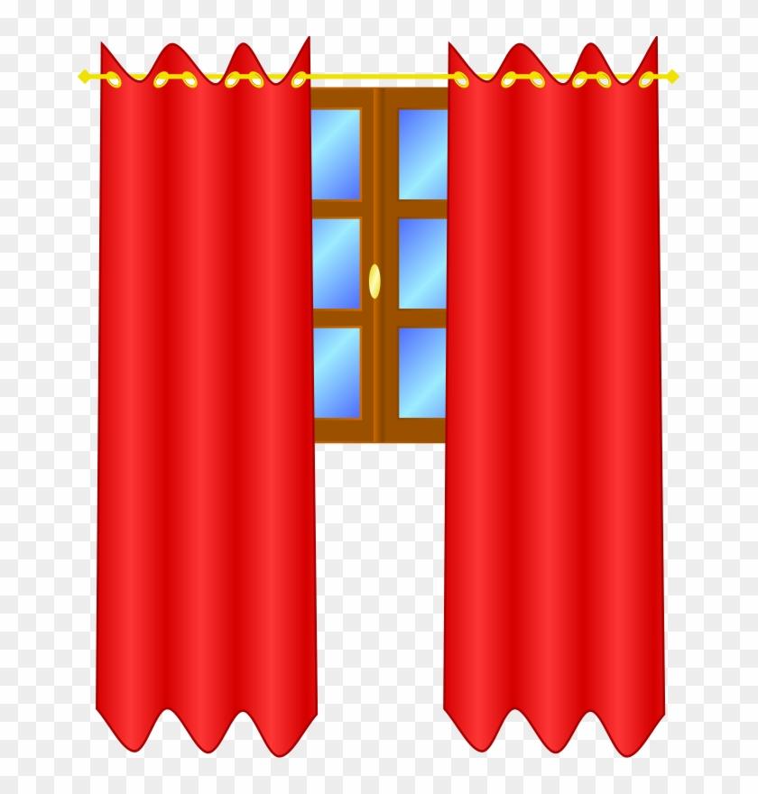 Window With Draperies Clip Art - Curtains Clip Art #137067