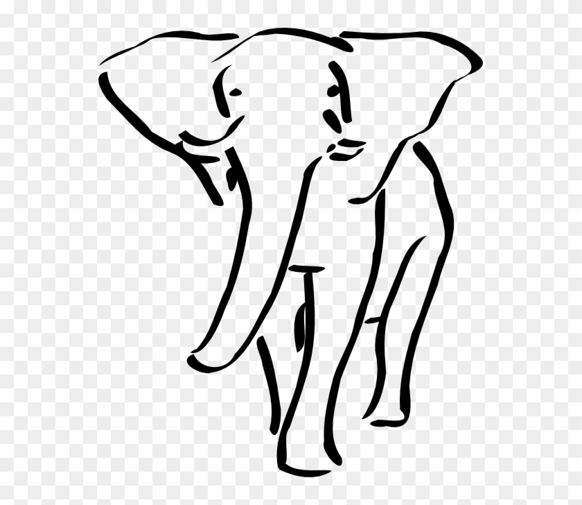 Melwe Elephant Black White Line Art Coloring Book Colouring - Elephant Outline Embroidery Design #729243