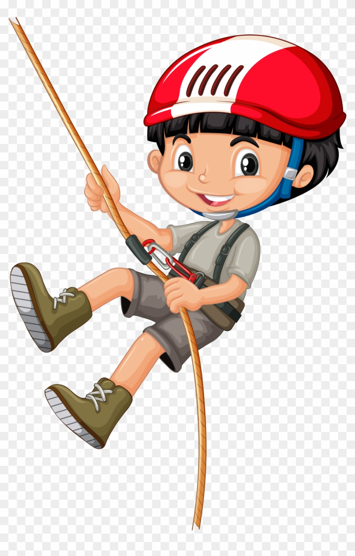 Rope Climbing Clip Art Boy Climbing Tree Cartoon Free