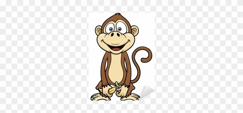 Vector Illustration Of Cartoon Monkey With Banana Sticker - Monkey With Banana Cartoon #732066