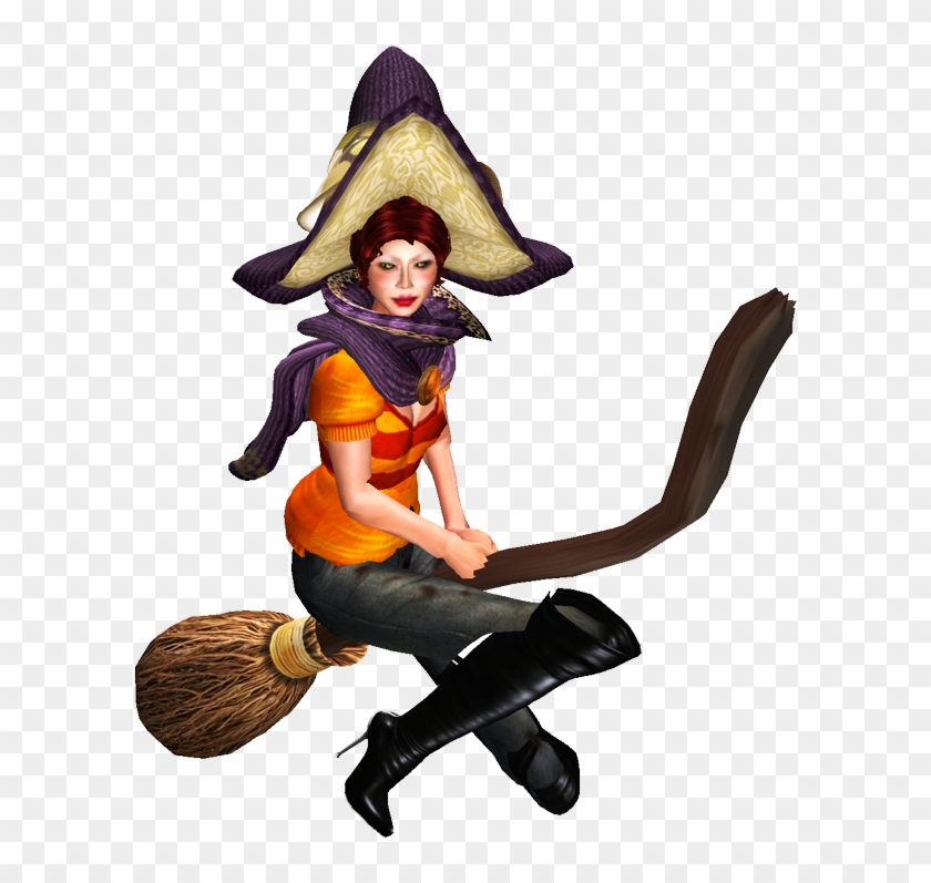 The Blushing Witch - Sims 4 Cc Witch Broom Pose - Free Transparent