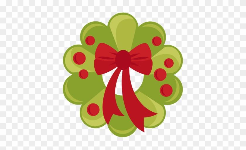 Christmas Wreath Svg Scrapbook Cut File Cute Clipart - Cute Christmas Wreath Clipart #737063