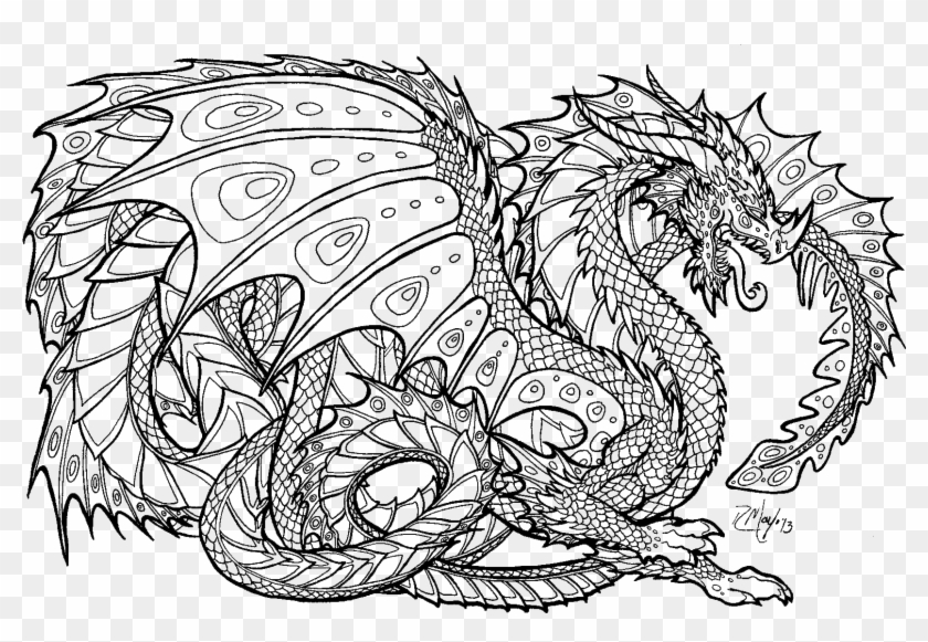 adult coloring pages dragon Unusual Dragon Images To Color Realistic Coloring Pages   Adult  adult coloring pages dragon