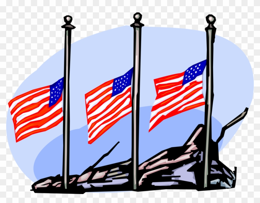 Vector Illustration Of American Flags Fly At Half Staff - Vector Illustration Of American Flags Fly At Half Staff #739725