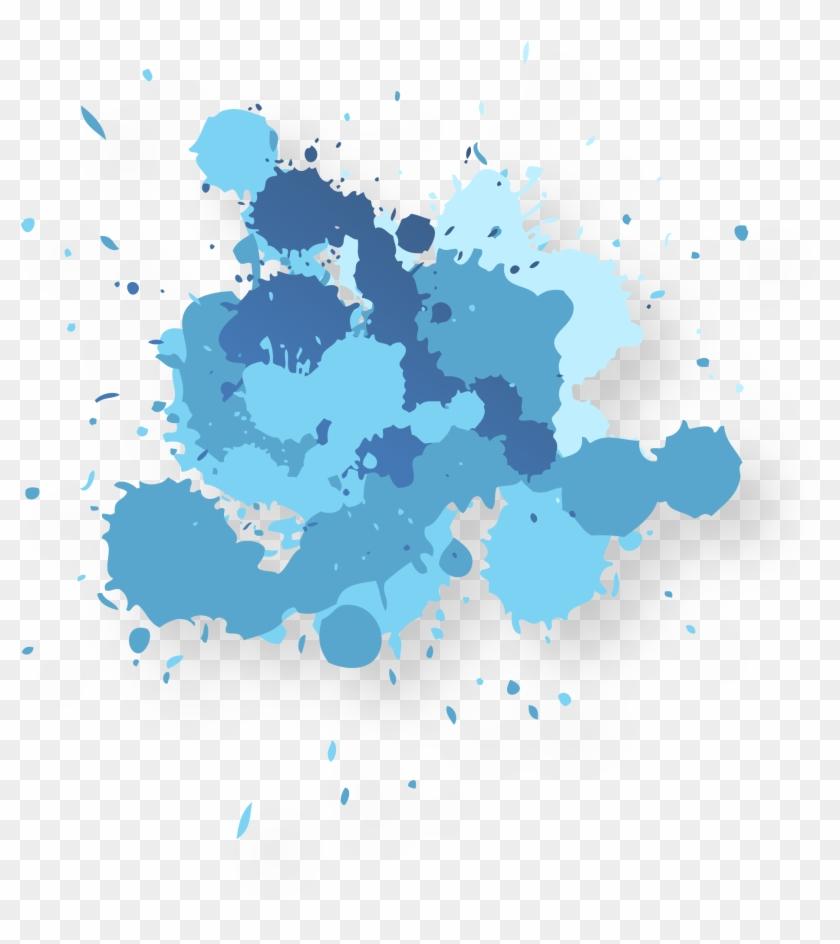 Ink Wash Painting Adobe Illustrator - Blue Paint Splatter