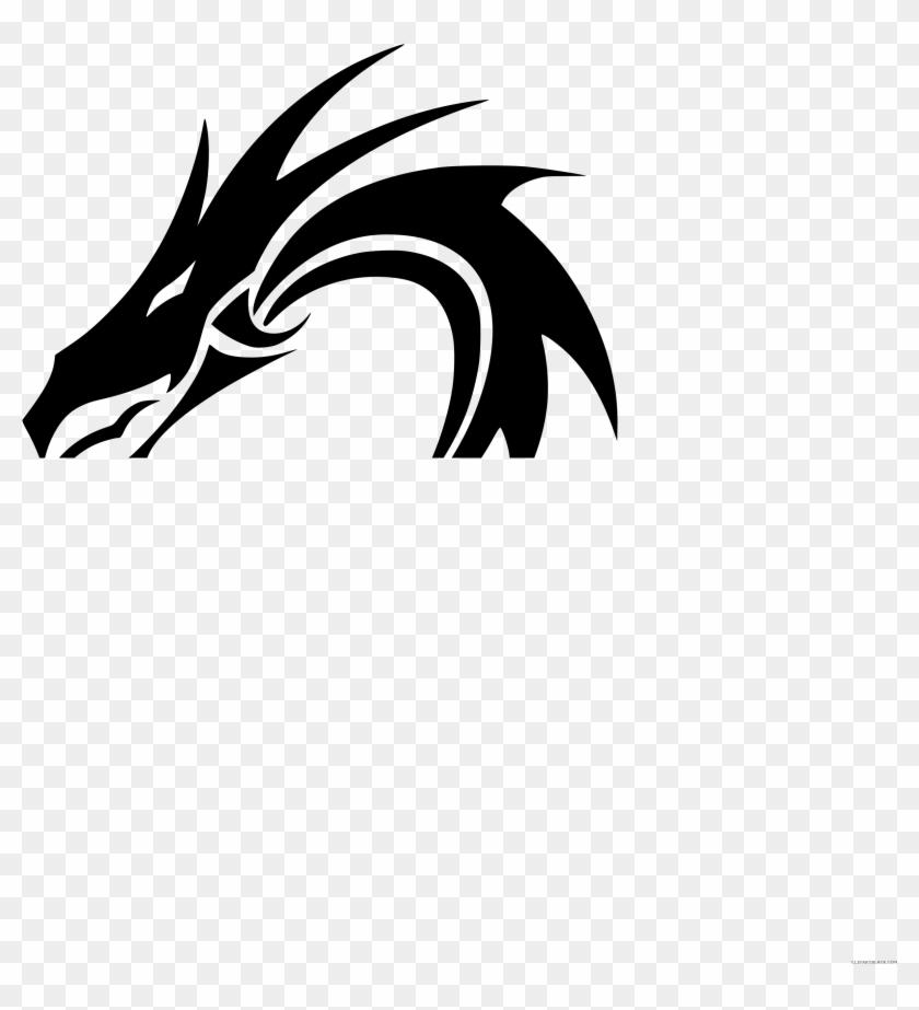 Tribal Dragon Animal Free Black White Clipart Images - Tribal Dragon Tattoos #740532