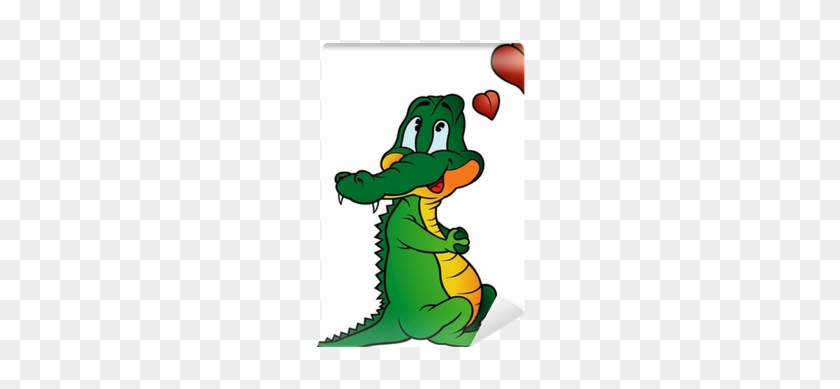 Colored Cartoon Illustration Wall Mural • Pixers® • - Crocodile In Love #741146