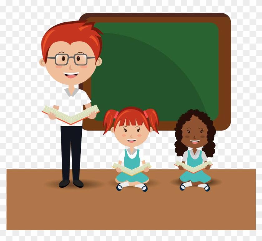 Student Teacher School Estudante Classroom - Classroom Student Books And Teacher Png #742062