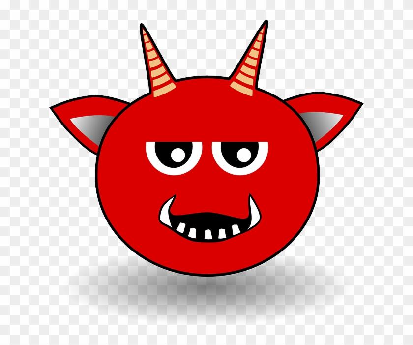 Devil, Smiley, Red, Horns, Ears, Fangs, Vampire - Cartoon Devil Head #742498
