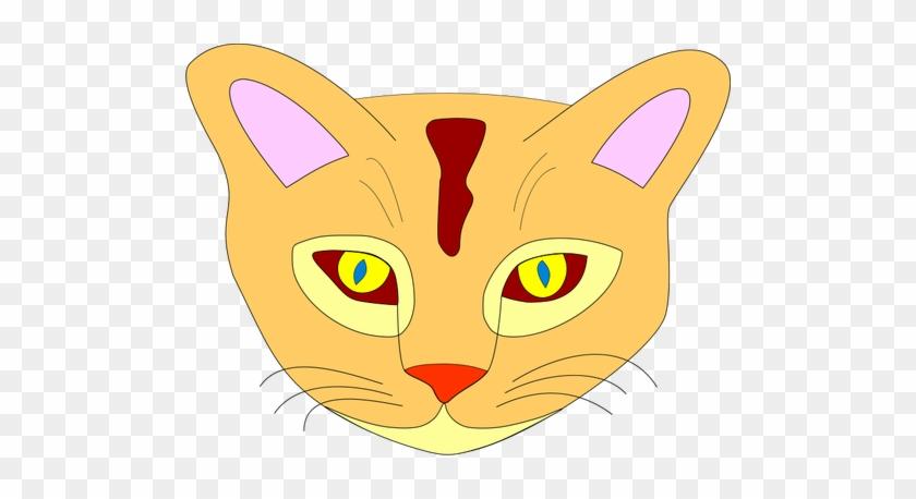 Cat Vector - Orange Cat Face Shower Curtain #744356