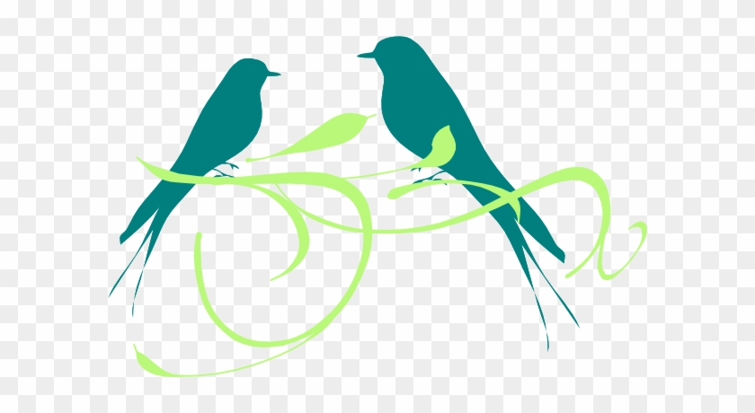 Lovebird Clipart Green Bird - Vintage Love Birds Clipart #750196