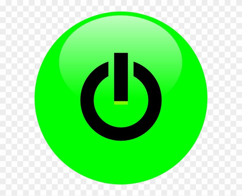 Green Power Button Svg Clip Arts 600 X 601 Px - Green Power Button Png #750985