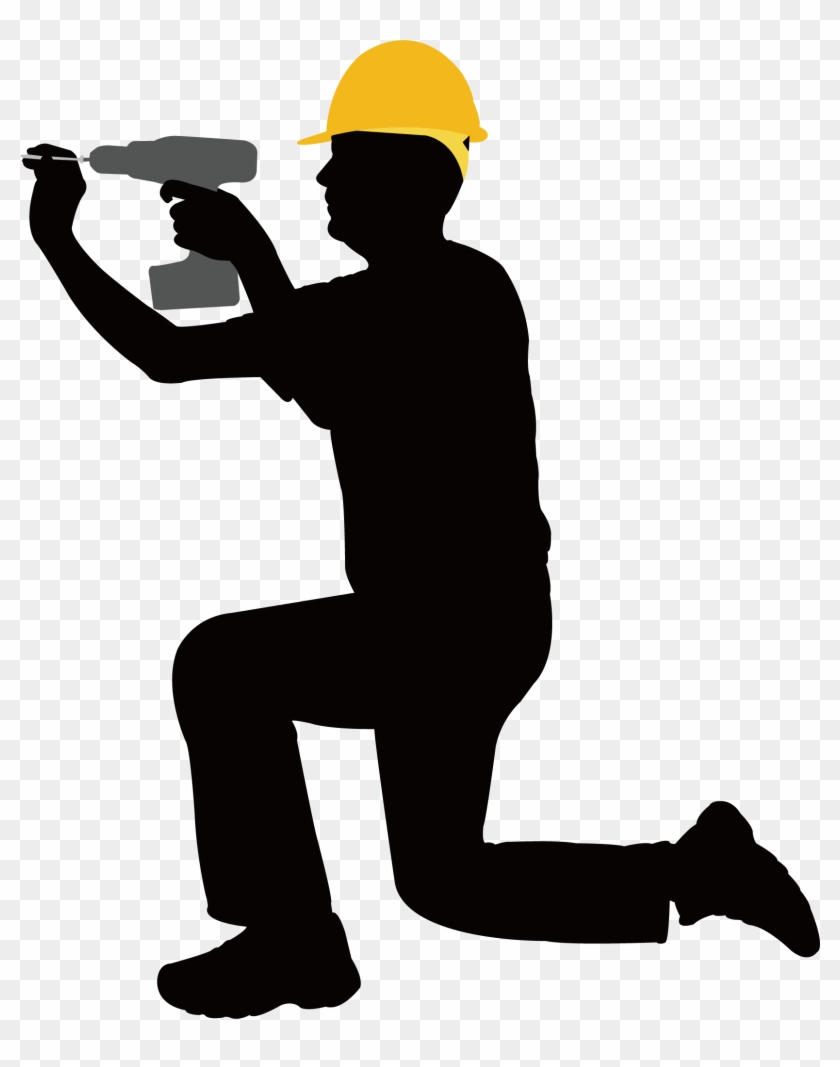 Construction Worker Laborer Architectural Engineering - Construction Worker Shaking Hand Silhouette #754839