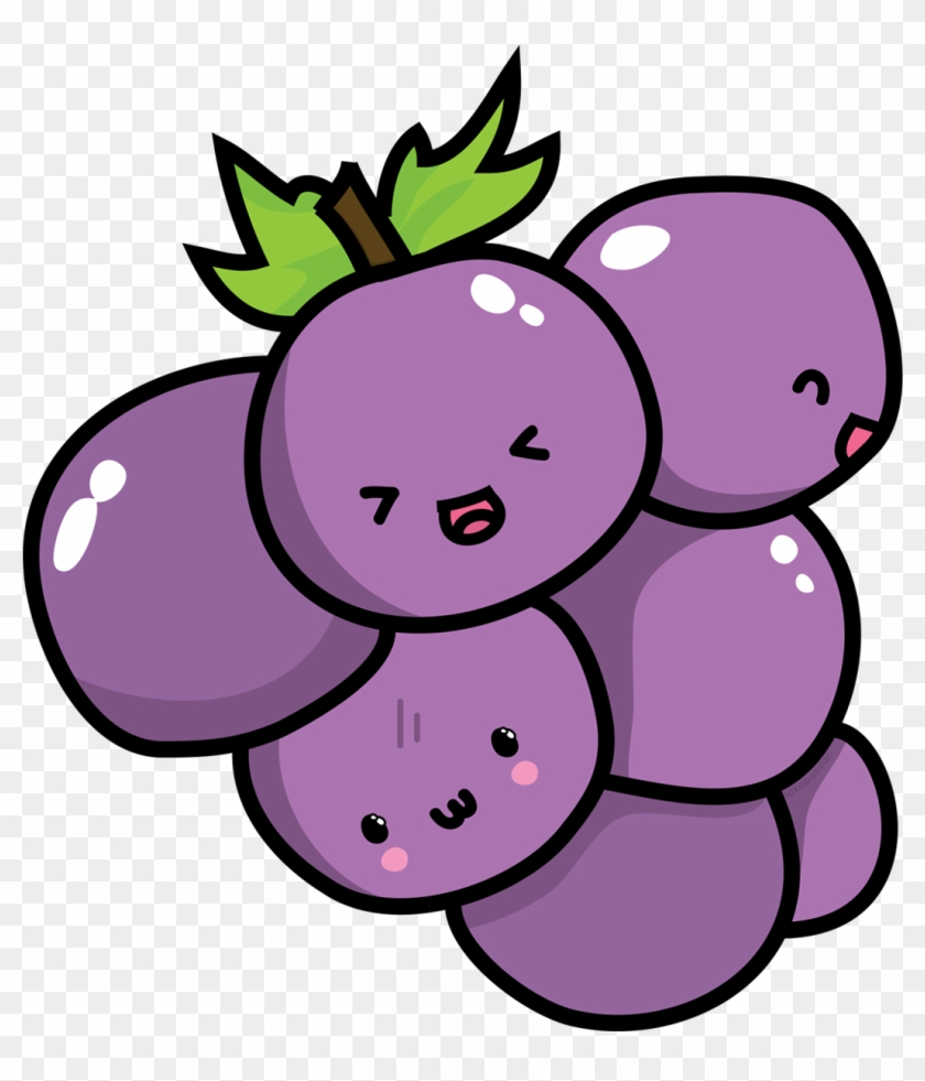 Kavaii Grape Chibi Food Clip Art Cute Grapes Png Free