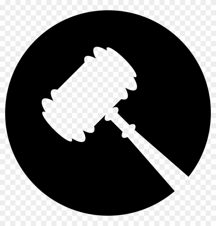 Legal Hammer Symbol In A Circle Comments Legal Hammer Icon White