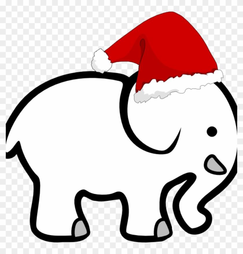 White Elephant Clip Art White Elephant With Santa Hat - Santa Hat Clip Art #762174