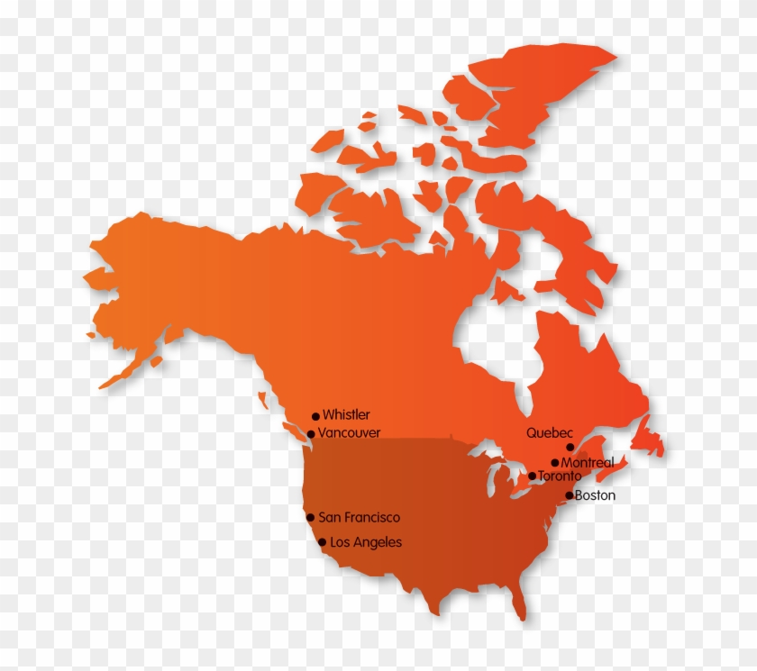 Summer And Winter Camps In Canada, Usa And Spain - Canada Flag Map on