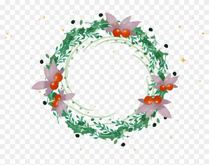 Wreath Christmas Garland Watercolor Painting - Transparent Green Flower Circle #763170