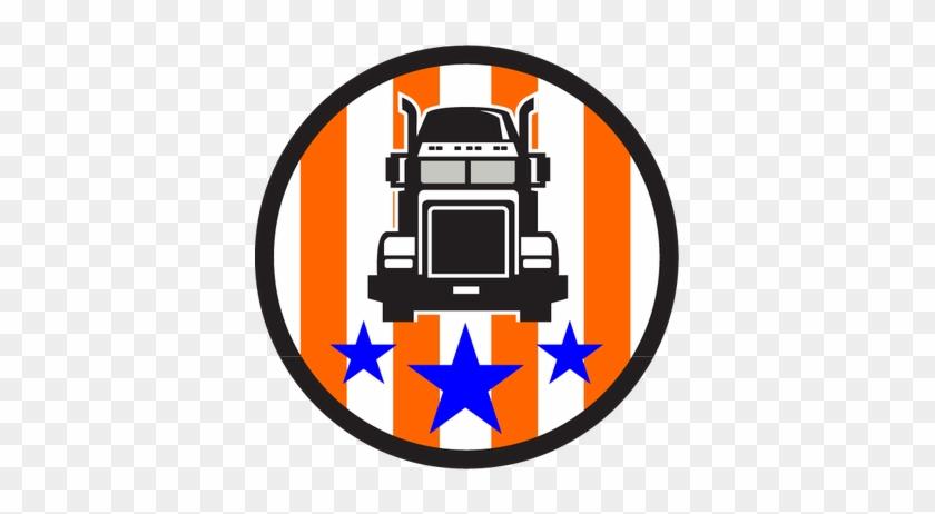 Truck Usa Flag Circle Retro Round Ornament #763427