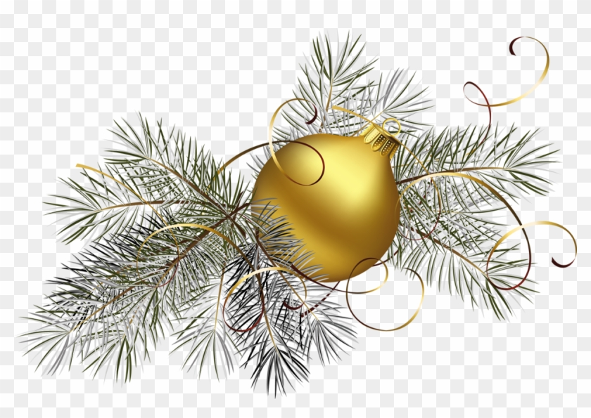 transparent gold christmas ball with pine png clipart gold