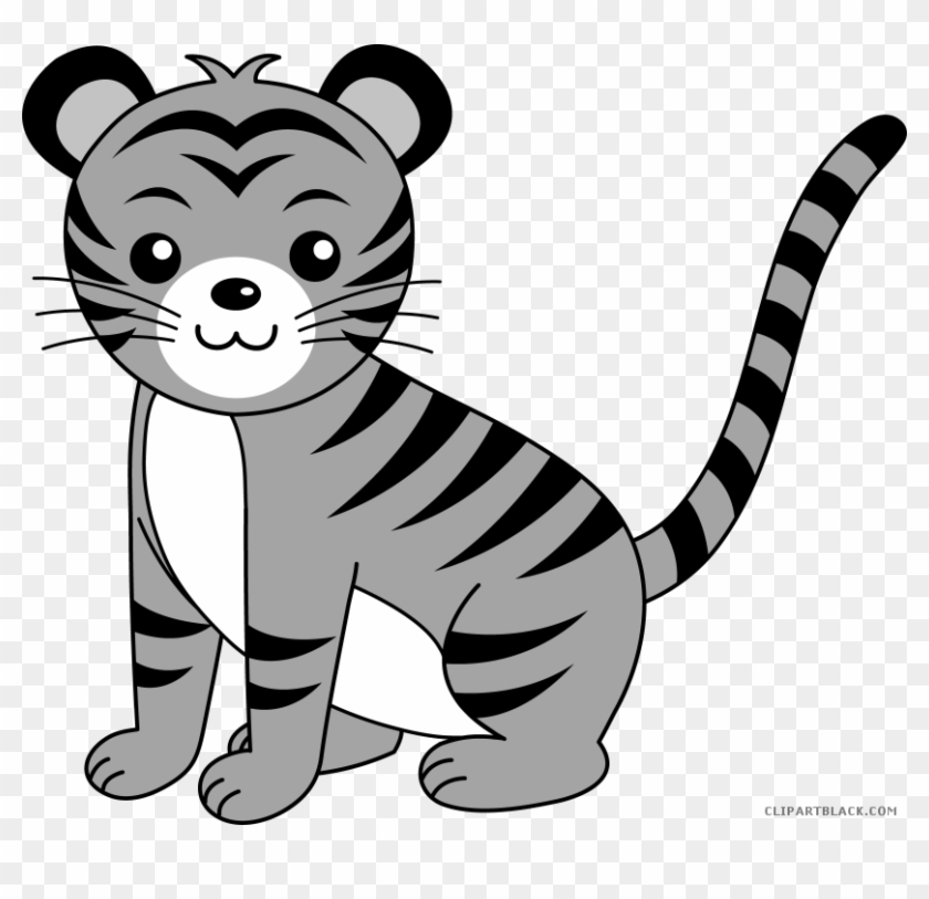 Cute Tiger Animal Free Black White Clipart Images Clipartblack - Tiger Face Drawing Easy #767221