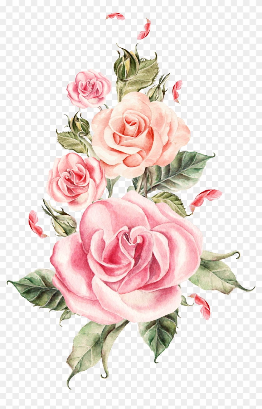 Wedding Rose Flower Painted Pink Flowers Free Transparent Png