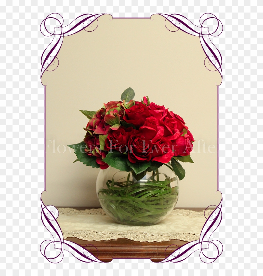 Silk Artificial Romantic / Elegant Red And Raspberry - Flower Bouquet #768658