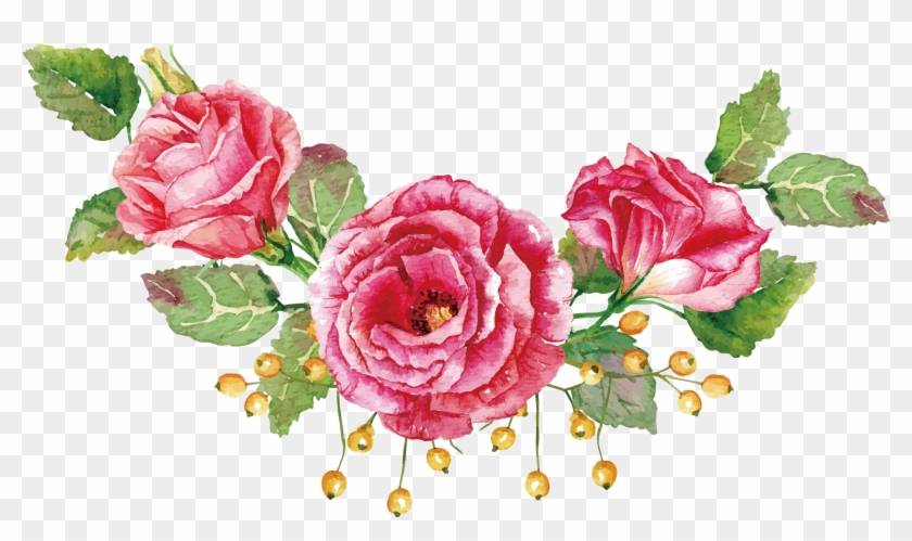 Flower Bouquet Watercolor Painting Beach Rose Pink Roses Vector