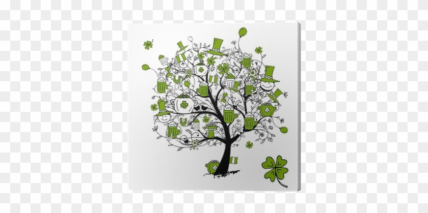 Patrick S Day Drawing Tree With Beer Mugs For Your Last