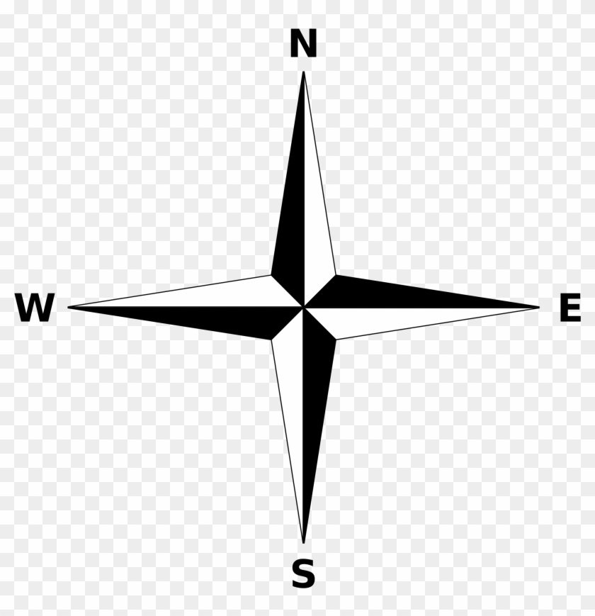 Simple Compass Rose - Simple Compass Rose Black And White #138706