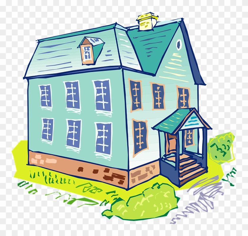 House Blue Home Architecture Building Windows - Clip Art Blue House #138767