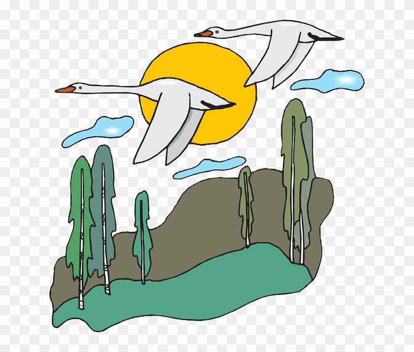 Free Nature Scene Clip Art - Migration Of Birds Cartoon #139146