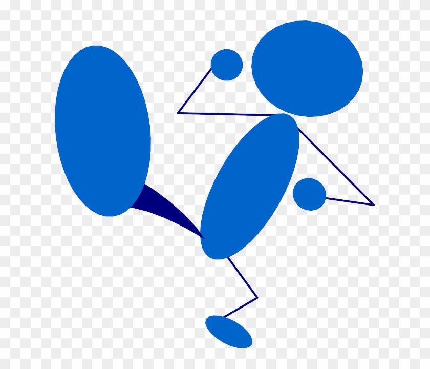 Man, Figure, Blue, Character, Avatar, Step, Boot - Kicking Clipart #139572