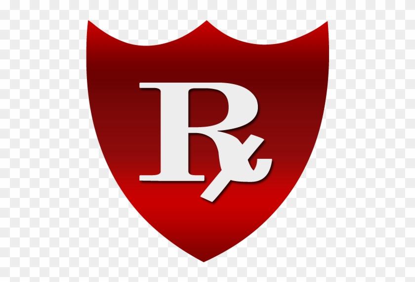 Pharmacy Red Rx Shield - White #140560