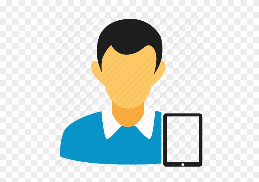 Account, Blue, Guy, Ipad, Man, Person, Tablet, User - Person With Ipad Icon #140574