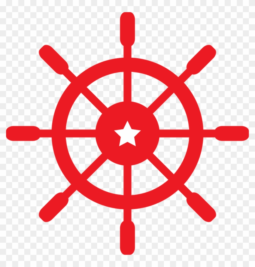 Nautical - Red Ship Wheel Clipart #141067